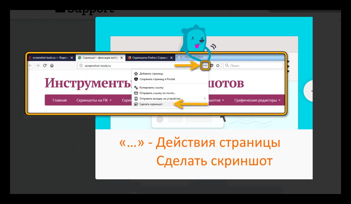 Действия страницы в Firefox Сделать скриншот