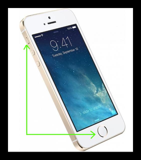 Кнопки для скриншота на Айфон