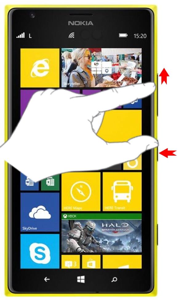 Комбинация кнопок Питания и Увеличение громкости на Windows Phone 10 для скриншота