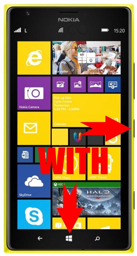 Комбинация кнопок Питания и WIN на Windows Phone 8 для скриншота