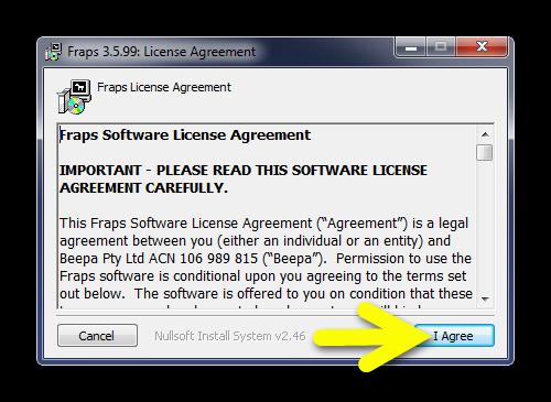 Лицензионное соглашение в Fraps