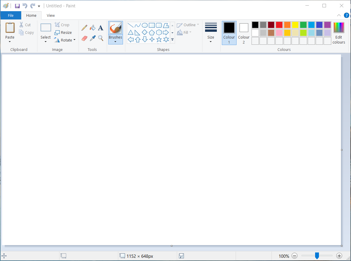 Программа Microsoft Paint готова к работе