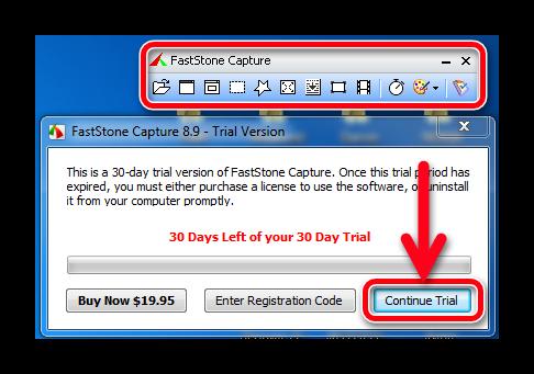 Рабочая область FastStone Capture и выбор версии для пользования