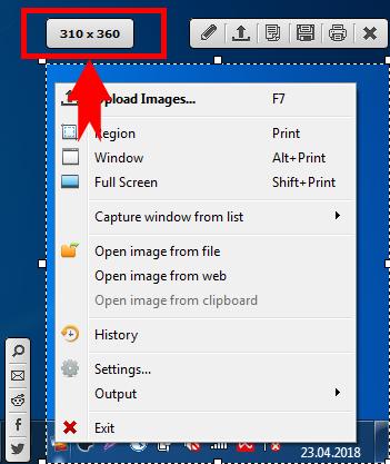Размер скриншота при захвате в Postimage