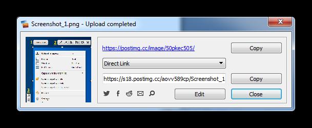 Сохранение изображения в облаке с ссылкой в утилите Postimage