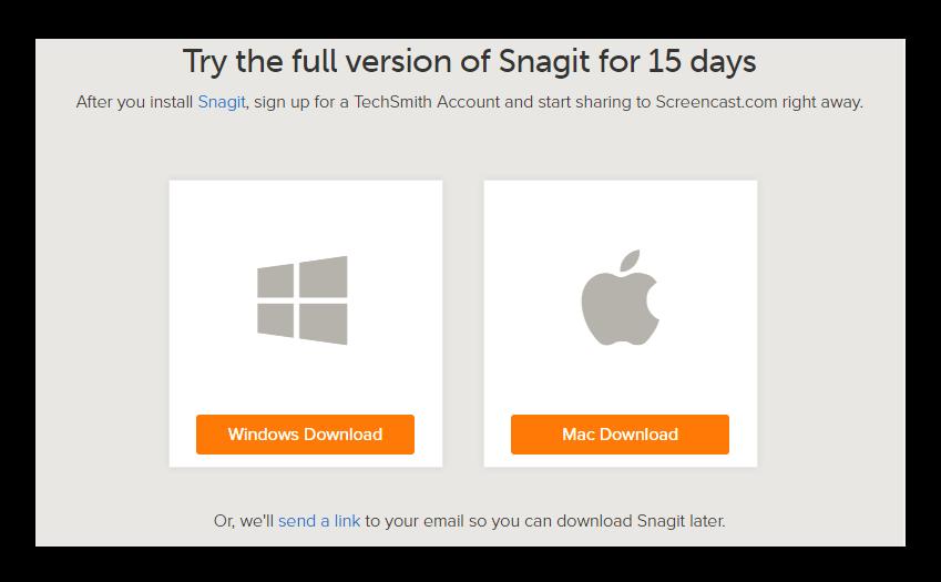 Версии Snagit для Windows и MacOS