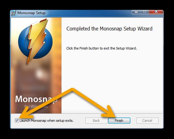 Завершение установки Monosnap