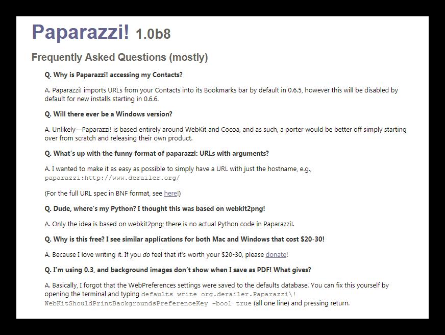 FAQ программы Paparazzi